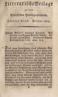 Litterarische Beilage zu den Schlesischen Provinzialblattern, 1823, 2. Stück.