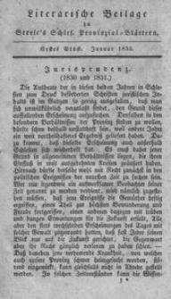 Literarische Beilage zu Streit's Schles. Provinzial-Blättern, 1833, 1. Stück
