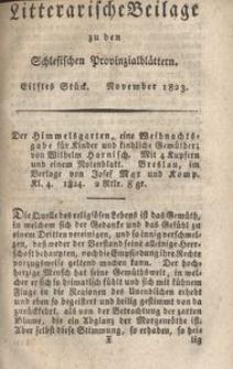 Litterarische Beilage zu den Schlesischen Provinzialblattern, 1823, 11. Stück.
