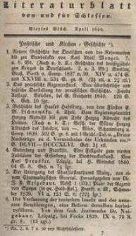 Literaturblatt von und für Schlesien, 1840, 4. Stück.