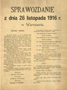 Sprawozdanie z dnia 26 listopada 1916 r. w Warszawie