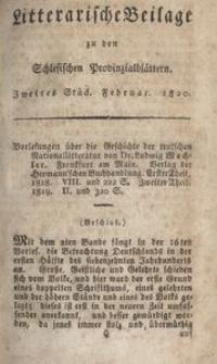 Litterarische Beilage zu den Schlesischen Provinzialblättern, 1820, 2. Stück