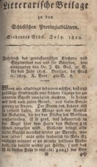Litterarische Beilage zu den Schlesischen Provinzialblättern, 1820, 7. Stück