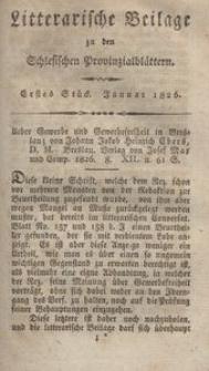 Litterarische Beilage zu den Schlesischen Provinzialblättern, 1826, 1. Stück