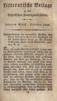 Litterarische Beilage zu den Schlesischen Provinzialblättern, 1826, 10. Stück