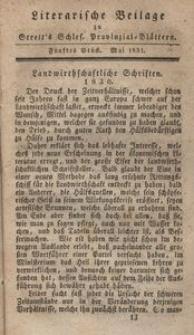 Literarische Beilage zu Streit's Schlesischen Provinzialblättern, 1831, 5. Stück