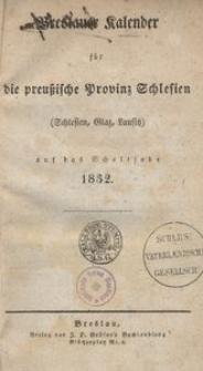 Breslauer Kalender fur die preussische Provinz Schlesien (Schlesien, Glaz. Lausitz) auf das Schaltjahr 1832
