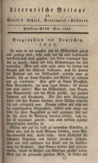 Literarische Beilage zu Streit's Schles. Provinzial-Blättern, 1834, 5. Stück