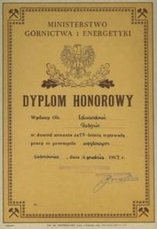 Dyplom Honorowy Ministerstwa Górnictwa i Energetyki