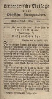 Litterarische Beilage zu den Schlesischen Provinzialblättern, 1802, 5. Stück