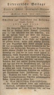 Literarische Beilage zu Streit's Schles. Provinzial-Blättern, 1830, 6. Stück