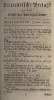 Litterarische Beilage zu den Schlesischen Provinzialblättern, 1803, 6. Stück