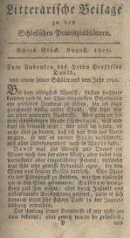 Litterarische Beilage zu den Schlesischen Provinzialblättern, 1803, 8. Stück