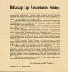 Deklaracja Ligi Państwowości Polskiej. Warszawa, d. 10 Listopada 1916