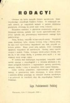 Rodacy! Warszawa, dnia 5 Listopada 1916 r. Liga Państwowości Polskiej
