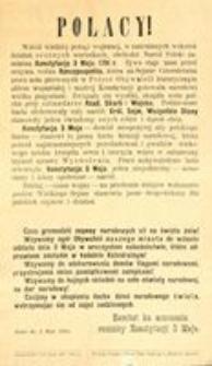 Polacy! Kielce, d. 3 Maja 1916. Komitet ku uczczeniu rocznicy Konstytucji 3 Maja