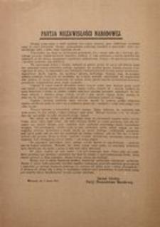 Partia Niezawisłości Narodowej. Warszawa, dn. 9 marca 1917