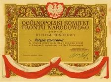 Dyplom Honorowy Ogólnopolskiego Komitetu Frontu Narodowego