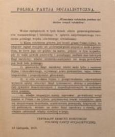 Polska Partia Socjalistyczna. 13 Listopada, 1916