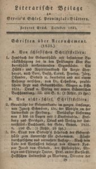 Literarische Beilage zu Streit's Schles. Provinzial-Blättern, 1832, 10. Stück