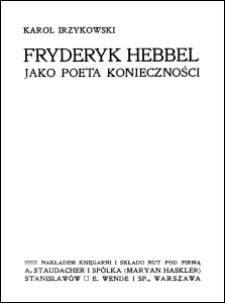 Fryderyk Hebbel jako poeta konieczności