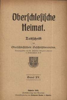 Oberschlesische Heimat 1919, Bd 15.