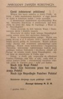 Cześć żołnierzowi polskiemu! 1 grudnia 1916 r. Narodowy Związek Robotniczy