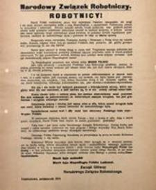 Robotnicy. Częstochowa, październik 1914. Narodowy Związek Robotniczy