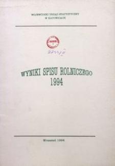 Wyniki spisu rolniczego 1994