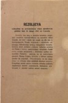 Rezolucya uchwalona na powszechnym wiecu narodowym polskim dnia 18. lutego 1918 we Lwowie