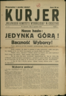 """Kurjer """"Miejskiego Komitetu Wyborczego w Cieszynie"""", 1929, Nr 2"""