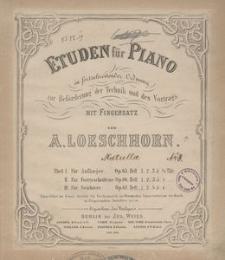 Etuden für Piano in fortschreitender Ordnung zur Beförderung der Technik und des Vortrags mit Fingersatz. Theil 3, Für Geübtere : Op. 67. H. 1