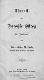 Chronik der Parochie Ostrog bei Ratibor