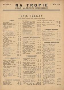 Na Tropie, 1936, R. 9, Spis Rzeczy