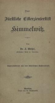 Das fürstliche Cisterzienserstift Himmelwitz