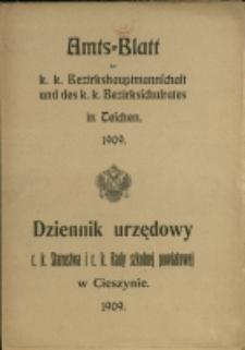 Amts-Blatt der k. k. Bezirkshauptmannschaft und des k. k. Bezirksschulrates in Teschen, 1909, Nry 1-12