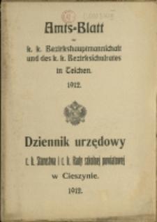 Amts-Blatt der k. k. Bezirkshauptmannschaft und des k. k. Bezirksschulrates in Teschen, 1912, Nry 1-13