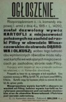 Ogłoszenie. C. i k. Komendant obwodu Pułkownik Balzar