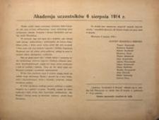Akademia uczestników 6 sierpnia 1914 r. Warszawa 6 sierpnia 1919 r.