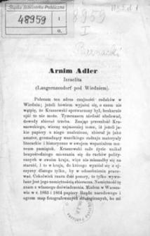 Arnim Adler. Izraelita. (Langernzendorf pod Wiedniem)
