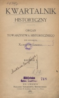 Kwartalnik Historyczny. R 1 (1887)