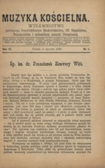 Muzyka Kościelna, 1889, R. 9, nr 1