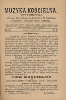 Muzyka Kościelna, 1891, R. 11, nr 12