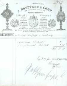 Rachunek firmowy ze sklepu z paramentami liturgicznymi z 1903 r.
