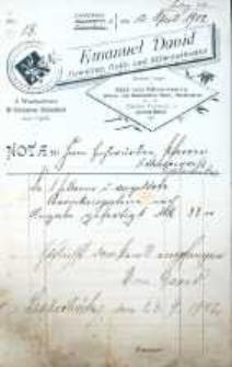 Rachunek firmowy z pracowni jubilerskiej Emanuela Davida z 1902 r.