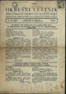 Okresní věstník pro správní okres českotěšínský = Dziennik Powiatowy dla Powiatu Český Těšín, 1935, č. 8/9