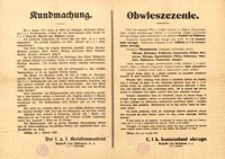 Obwieszczenie. Olkusz, dnia 1-go stycznia 1915