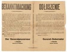 Ogłoszenie. Warszawa, dnia 30 grudnia 1916 r.