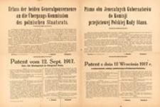 Pismo obu Jeneralnych Gubernatorów do Komisji przejściowej Polskiej Rady Stanu. Warszawa dnia 12 Września 1917 r.
