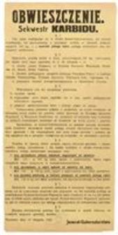 Obwieszczenie. Sekwestr Karbidu. Warszawa, dnia 10 listopada 1916